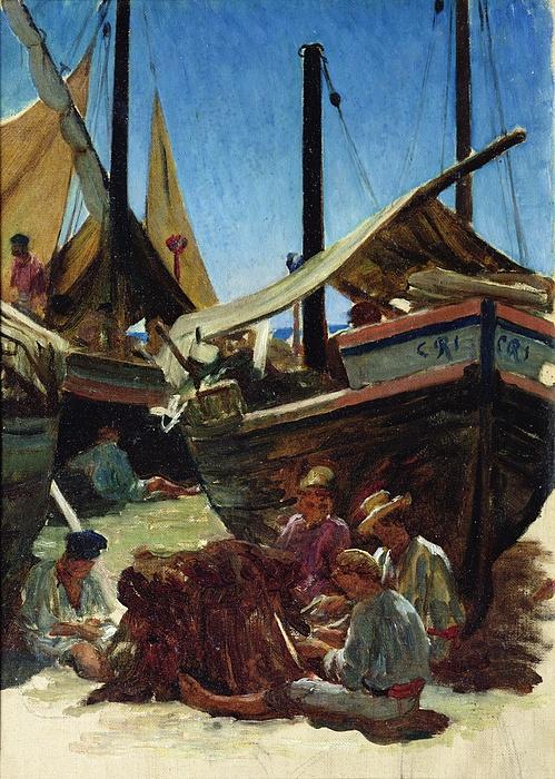 Anzio Painting - Anzio The Port by Antoine Auguste Ernest Hebert