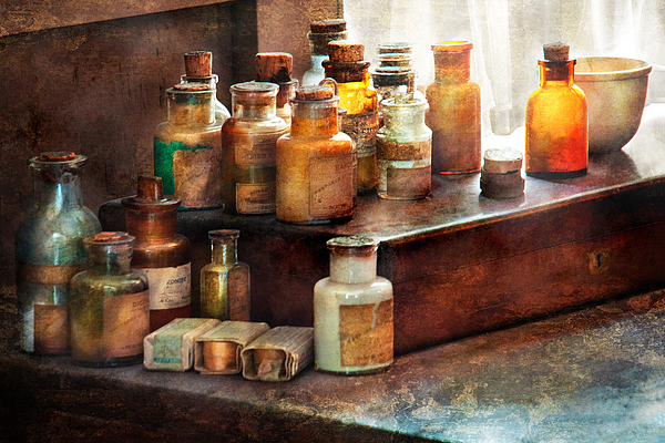 Framed Photograph - Apothecary - Chemical Ingredients  by Mike Savad