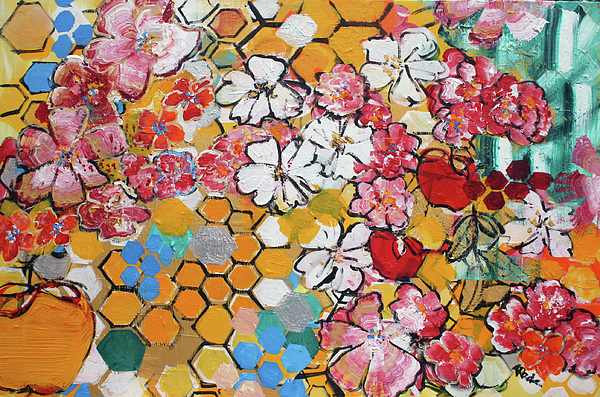Yellow Painting - Apple Honeycomb Blossoms 201760 by Alyse Radenovic