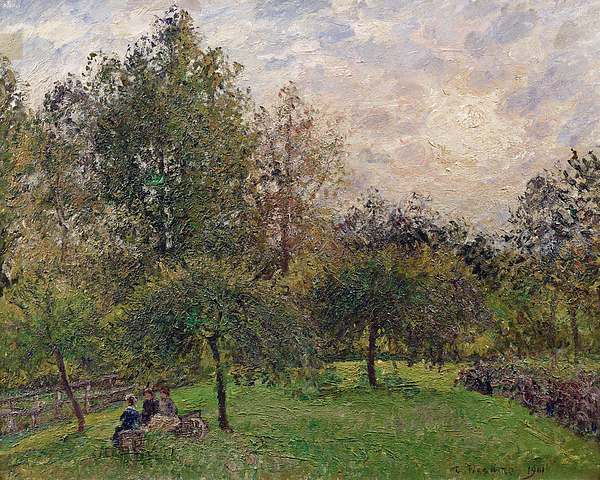 Impressionism Painting - Apple Trees And Poplars In The Setting Sun by Camille Pissarro