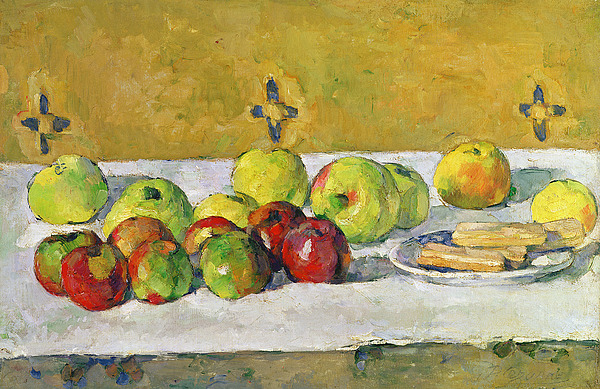 Apples Painting - Apples And Biscuits by Paul Cezanne