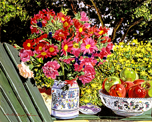 Still Life Painting - Apples And Flowers by David Lloyd Glover