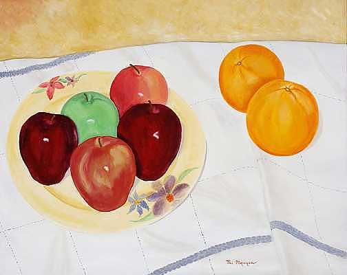 Apples Painting - Apples And Oranges-together by Thi Nguyen