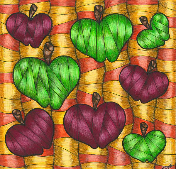 Fruit Drawing - Apples by Hilda Tovar