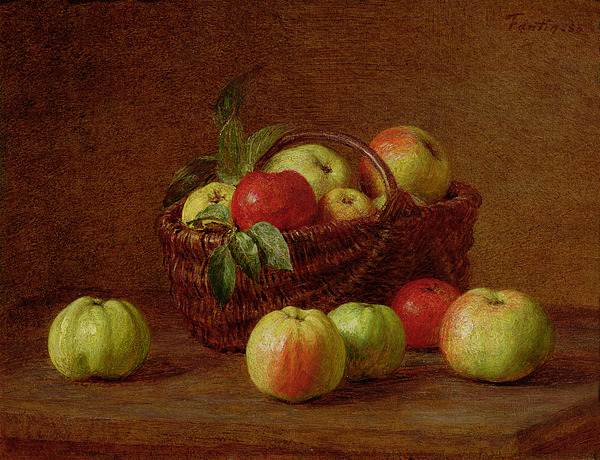 Apples Painting   Apples In A Basket And On A Table By Ignace Henri Jean  Fantin