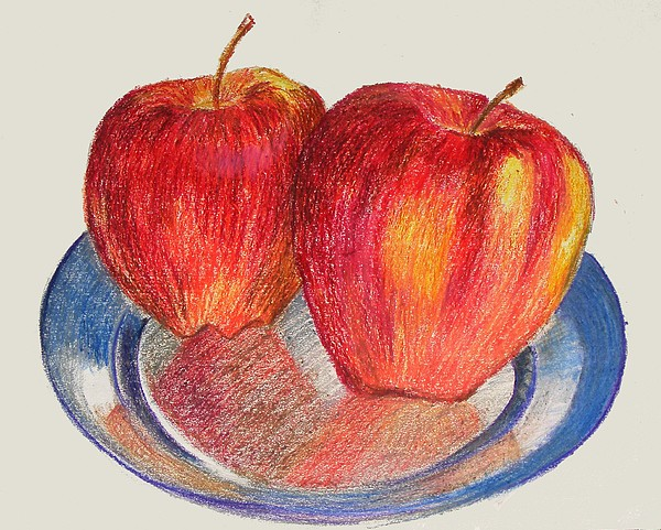 Still Life Pastel - Apples by Naveen Wagh