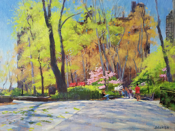 Tags Painting - April Morning In Carl Schurz Park by Peter Salwen