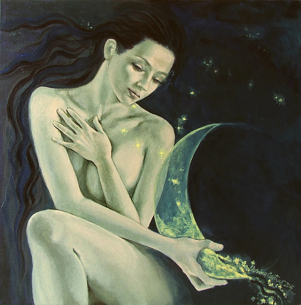 Painting Painting - Aquarius From  Zodiac Signs Series by Dorina  Costras