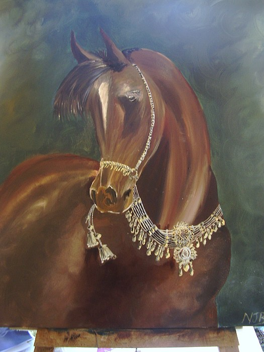 Equine Painting - Arab Stallion With Jewlery by Naomi Bowman