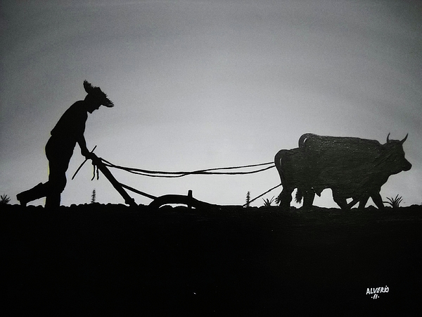 Yunta Painting - Arando Con Bueyes by Edwin Alverio