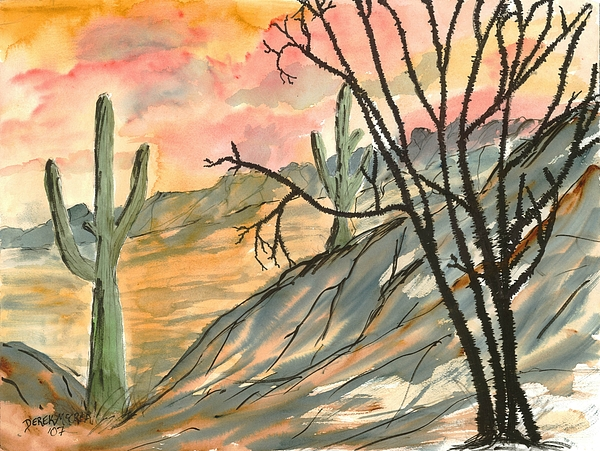 Drawing Painting - Arizona Evening Southwestern Landscape Painting Poster Print  by Derek Mccrea