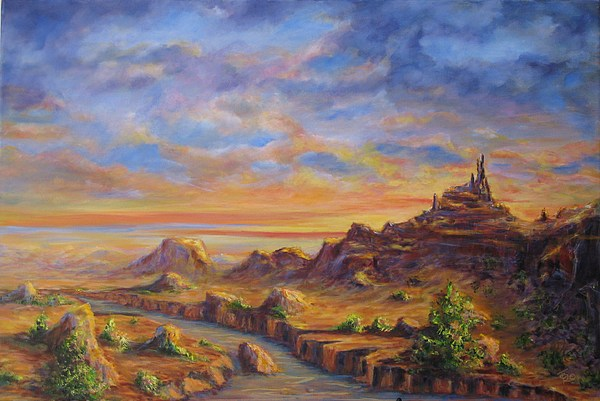 Desert Landscape Painting - Arroyo Sunset by Thomas Restifo