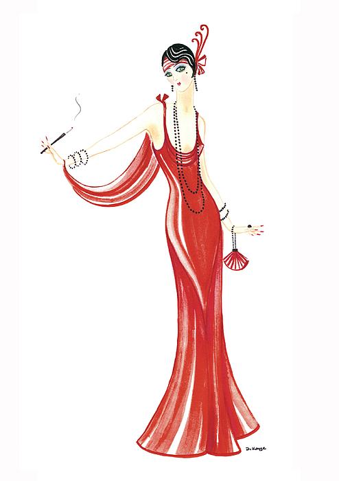Art Deco Painting - Art Deco Lady - Daphne by Di Kaye