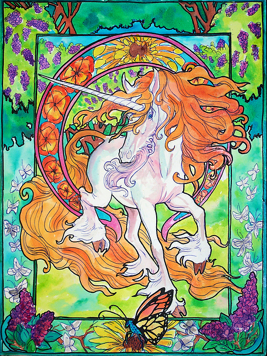 Unicorn Painting - Art Nuevo Unicorn by Jenn Cunningham