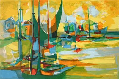 Boats Painting - Artist Proof - Available by Marcel Mouly
