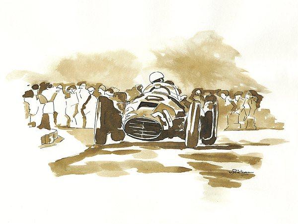 Ascari Drawing - Ascari by Francoise Villibord Pointeau