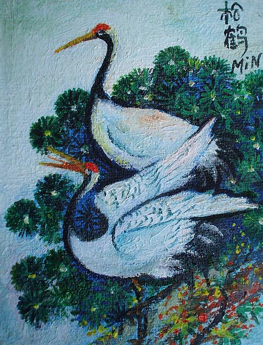 Asian Birds Painting - Asian Cranes 1 by Min Wang