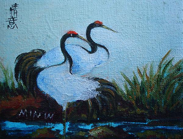 Asian Cranes Painting - Asian Cranes 2 by Min Wang