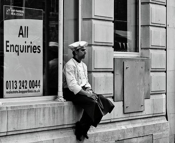 Black And White Photograph - Ask The Chef by Paul Jarrett