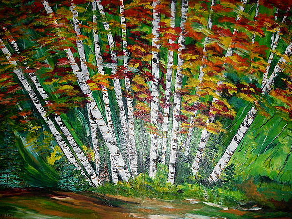 Aspens Painting - Aspen Grove In October by Terry Lash