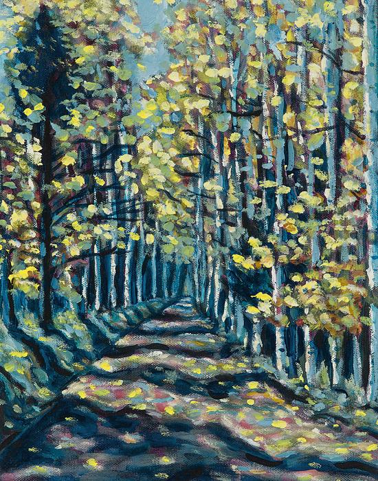 Landscape Painting - Aspen Path by Steve Lawton