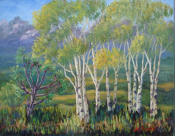 Landscape Painting - Aspens In The Rockies by Maxine Ouellet
