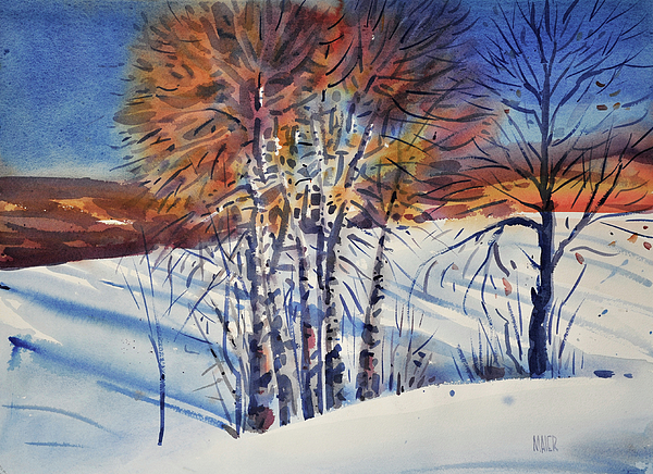 Aspen Painting - Aspin In The Snow by Donald Maier