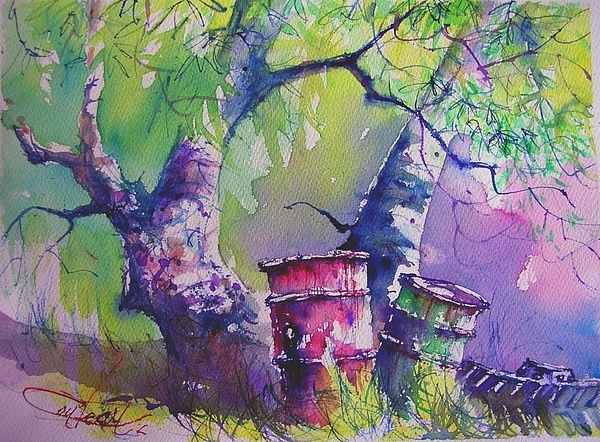 Watercolor Painting - Assaulted Nature by Christian Couteau