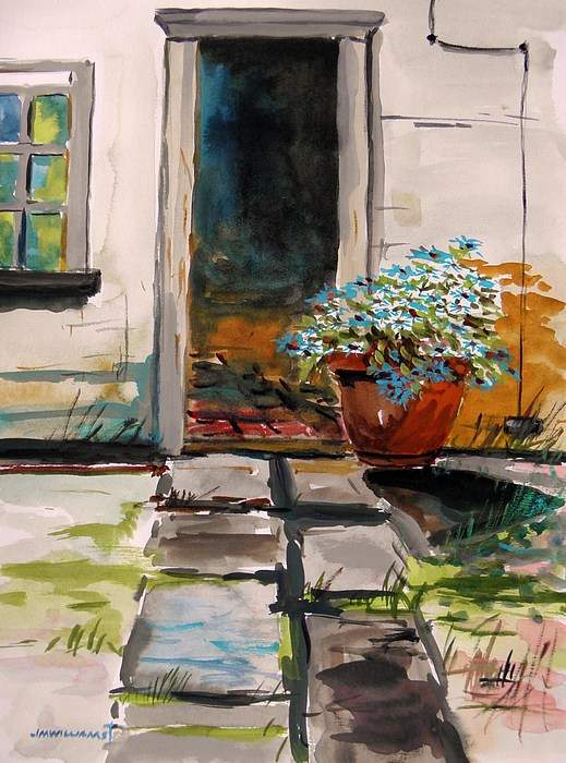 Watercolor Painting - Aster By The Door by John Williams