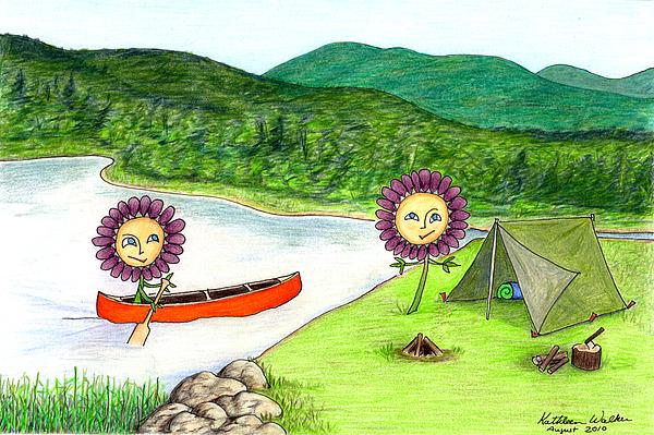 Landscape Drawing - Astors Camping by Kathleen Walker