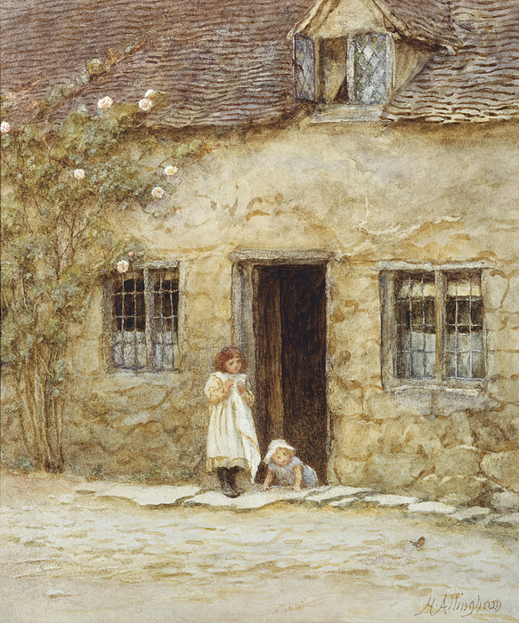 19th Century Painting Painting - At The Cottage Door by Helen Allingham