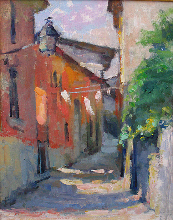 Plein-air Painting - At The End Of The Alley by Jerry Fresia