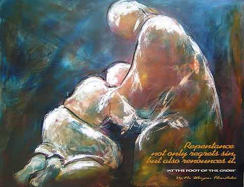 Kneel Down Print - At The Foot Of The Cross by  Ni Wayan Handoko