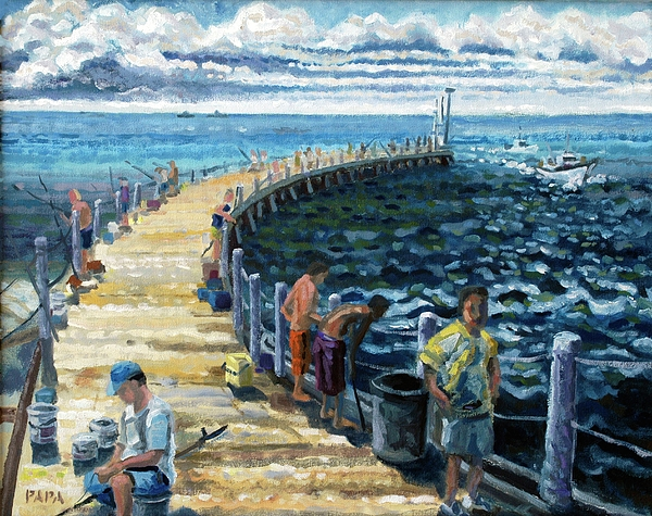 Fishing Painting - At The Inlet 2005 by Ralph Papa
