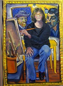 At The Yellow House- Self Portrait Painting by Albie Davis