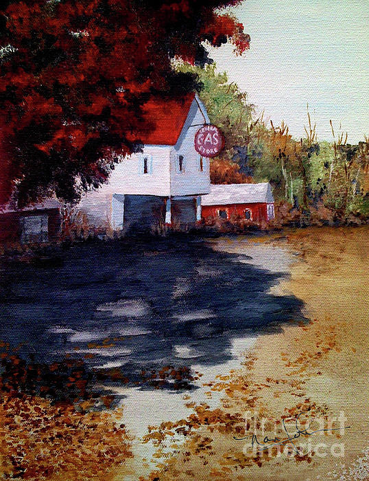 Landscape Painting - Atomic Gas Station by Nancie Johnson