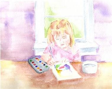 Aubrie Painting With Watercolors Painting by Mark Keisling