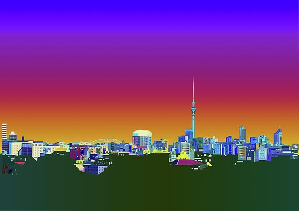 Auckland Digital Art - Auckland City Skyline by Sarah Molloy