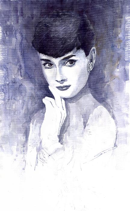 Watercolour Painting - Audrey Hepburn  by Yuriy Shevchuk