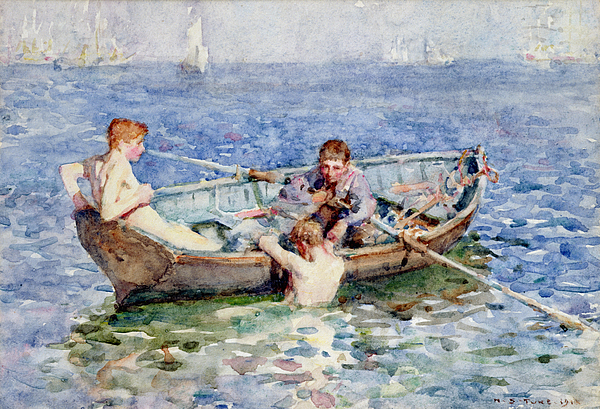 Boat Painting - August Blue by Henry Scott Tuke
