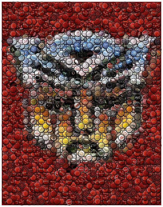Transformers Digital Art - Autobot Transformer Bottle Cap Mosaic by Paul Van Scott
