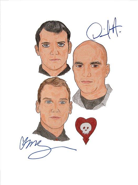 Alkaline Trio Drawing - Autographed Alkaline Trio by Michael Dijamco