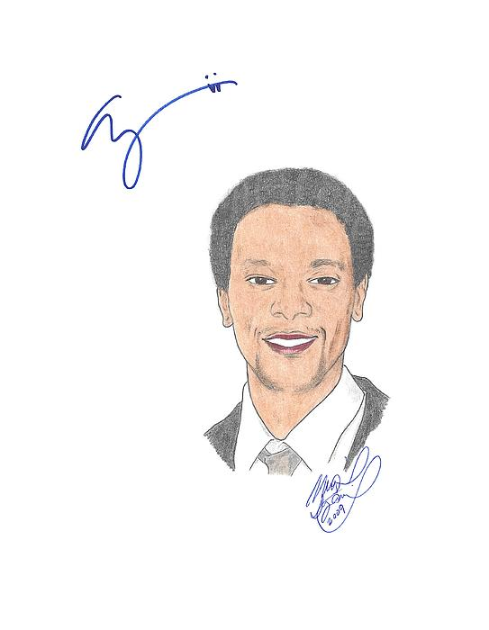 Autographed Drawing - Autographed Edi Gathegi   by Michael Dijamco