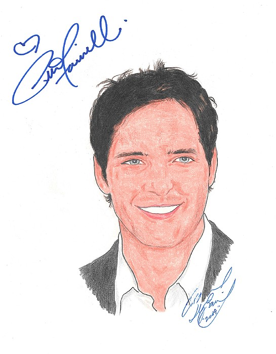 Autographed Drawing - Autographed Peter Facinelli by Michael Dijamco