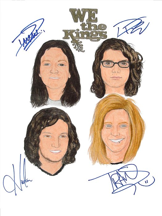 We The Kings Drawing - Autographed We The Kings by Michael Dijamco