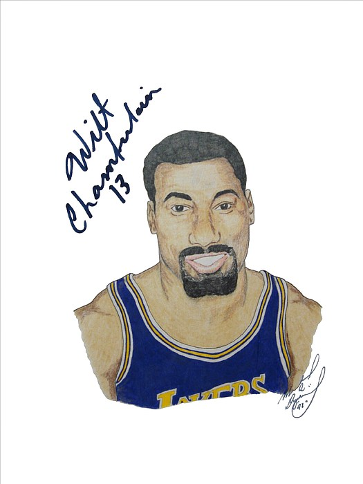 Autographed Drawing - Autographed Wilt Chamberlain Portrait Upper Deck Authenticated by Michael Dijamco