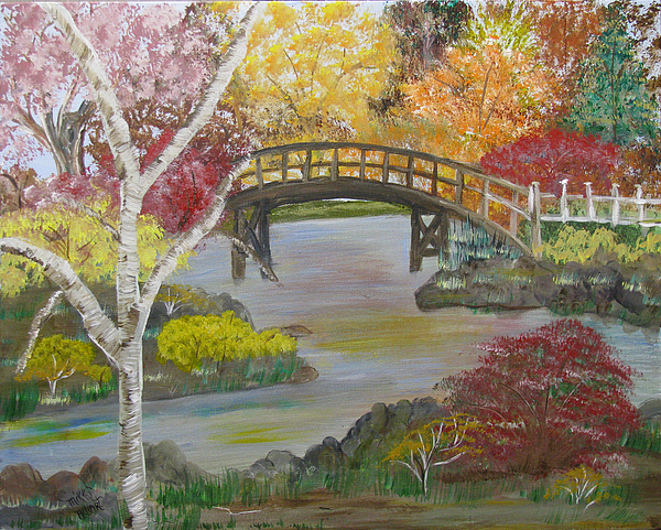 Landscape Painting - Autum Bridge by Mikki Alhart