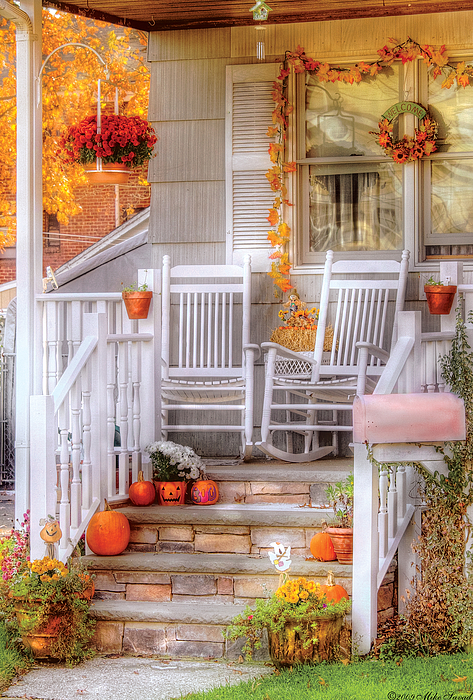 Savad Photograph - Autumn - House - My Aunts Porch by Mike Savad
