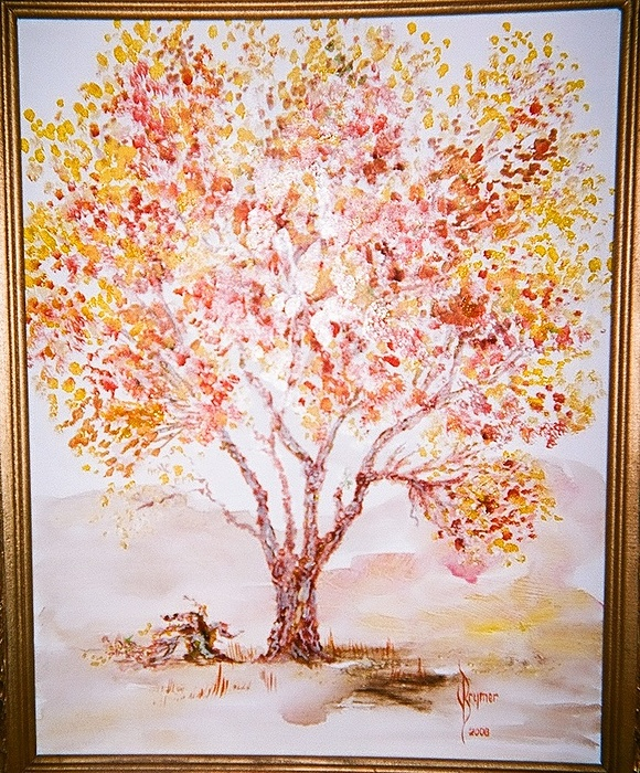 Tree Painting - Autumn Cottonwood Tree by Lulu Brymer
