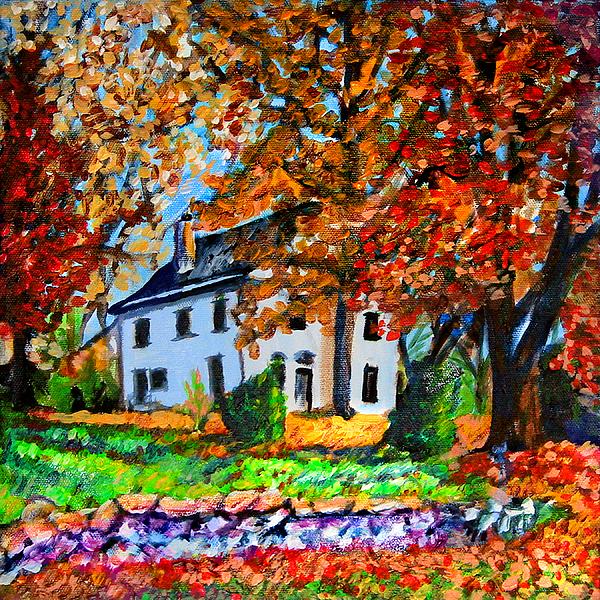 Landscape Painting - Autumn Farmhouse by Laura Heggestad